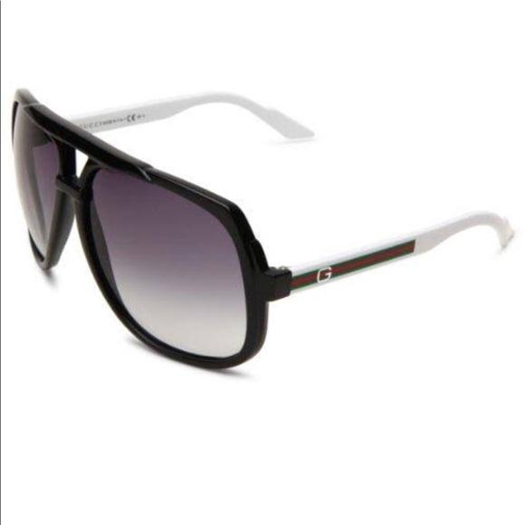 4cbac78c35f8 Gucci Accessories   Aviator Sunglasses Black And White   Poshmark